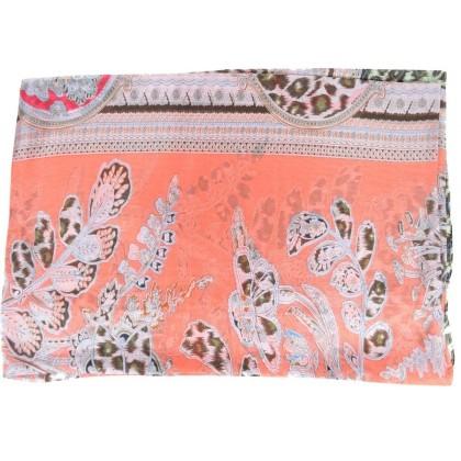 Etole en soie corail fleurs-panthere
