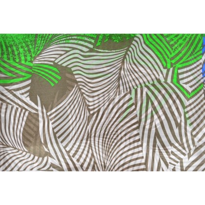 Etole en soie abstrait vert, beige, bleu