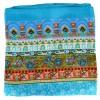 Carré soie imprimé bleu-corail