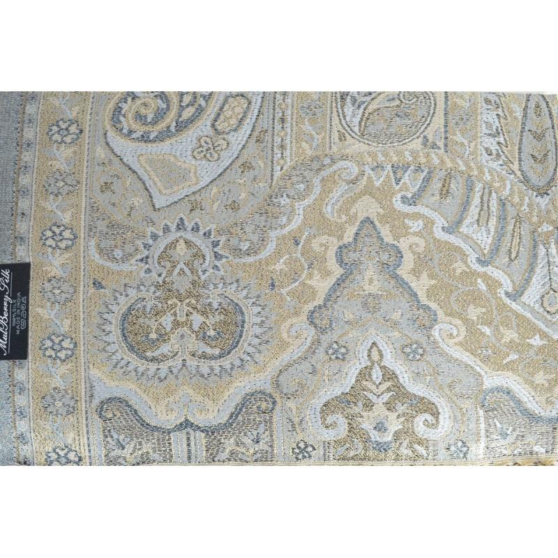 Pashmina en soie antique beige et gris