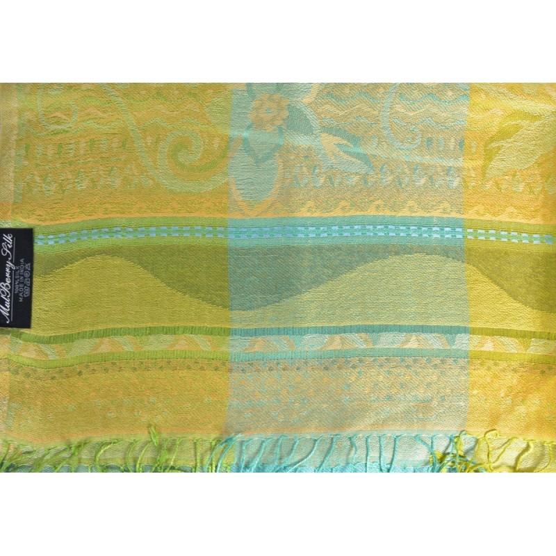 Pashmina en soie antique jacquard vert