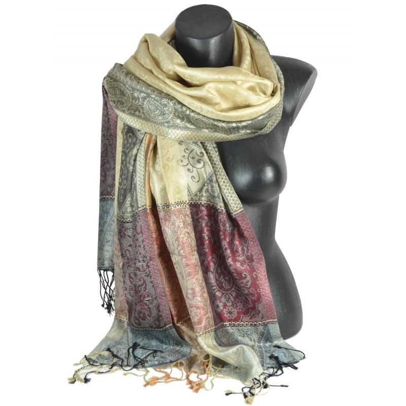 Pashmina jacquard en soie rouge-gris-noir