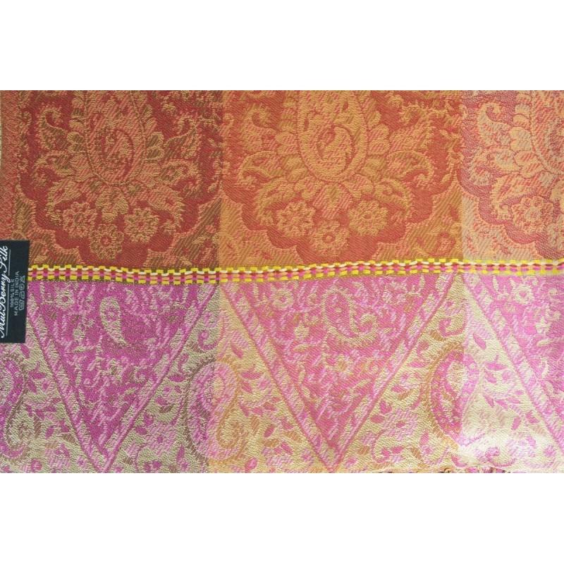 Pashmina en soie antique jacquard rose et marron