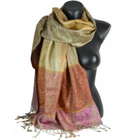 Pashmina en soie antique jacquard rose et marron
