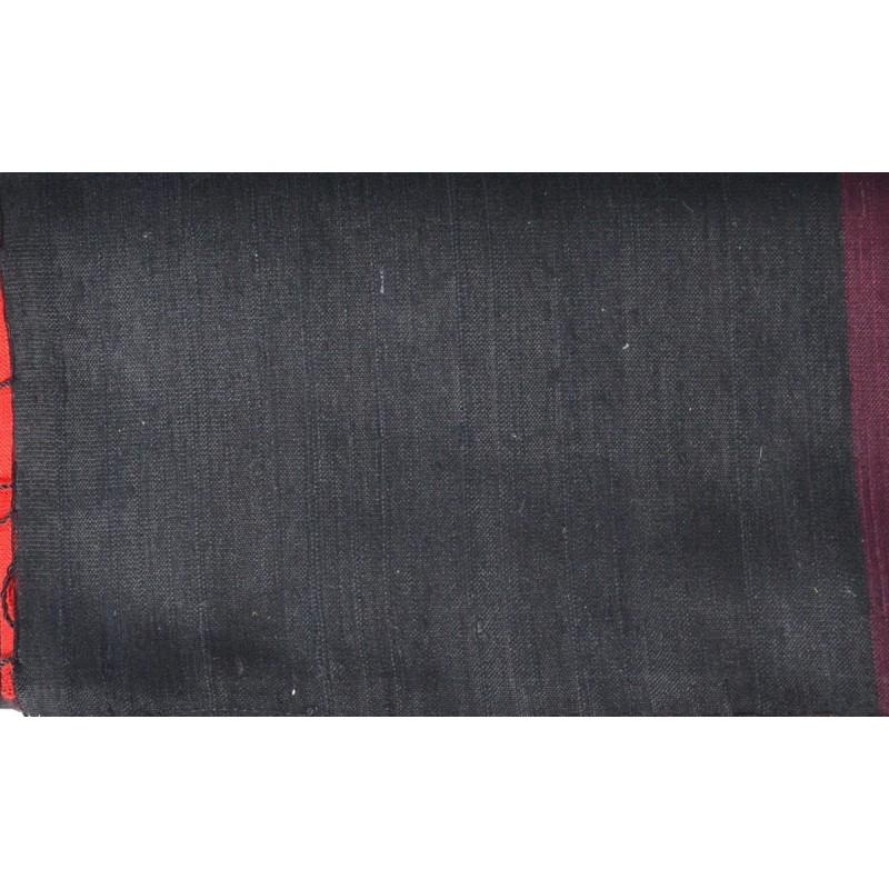 Echarpe en soie sauvage noir-rouge