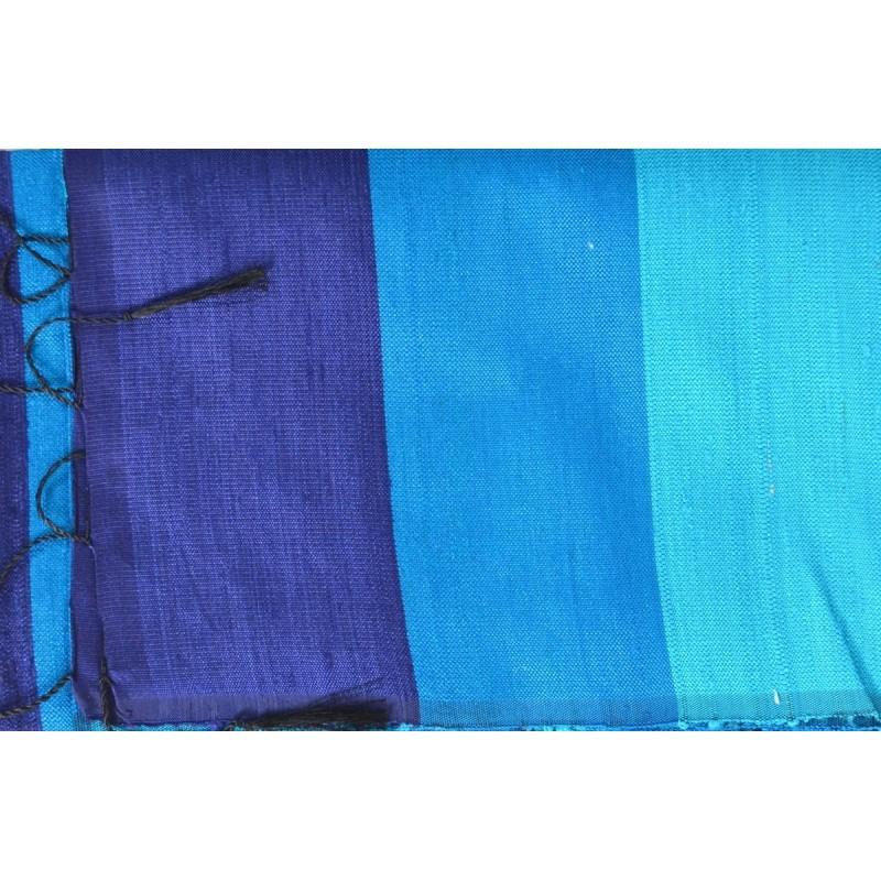 Echarpe en soie sauvage bleu-turquoise