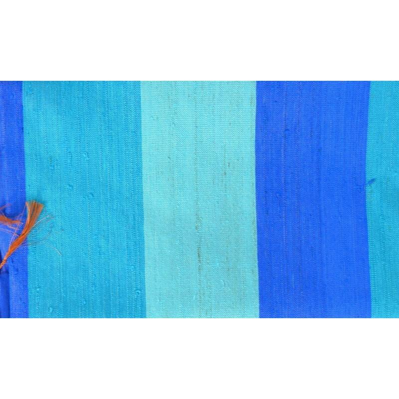 Echarpe en soie sauvage turquoise-marron
