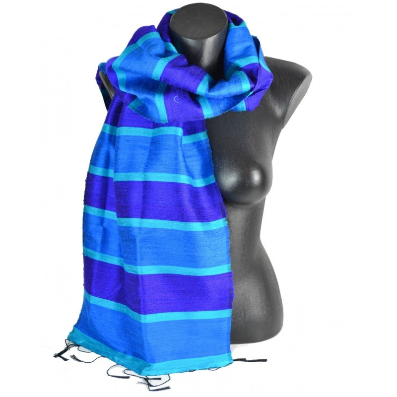 Echarpe en soie sauvage bleu-vert
