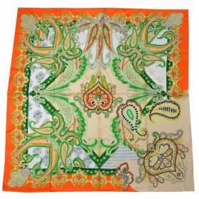 Carré en twill de soie orange et vert