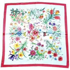 Carré satin de soie blanc multi-fleurs