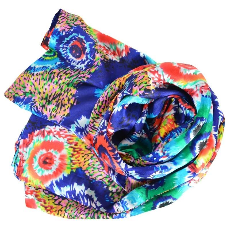 Echarpe soie Solano fleurs multicolores
