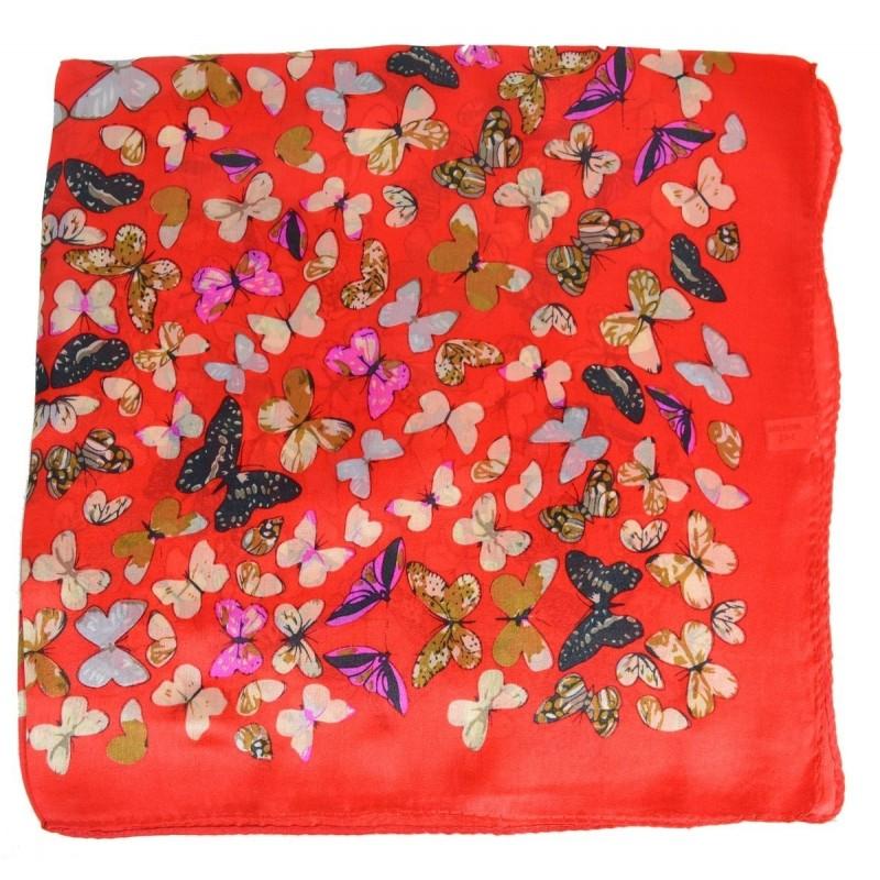 Petit carré en soie papillons rouge