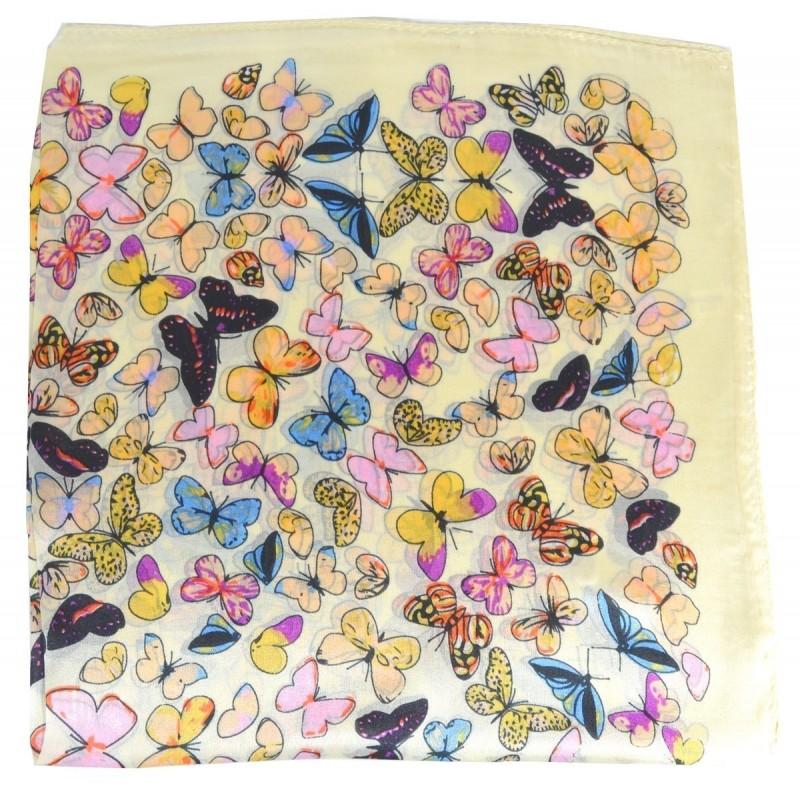 Petit carré en soie papillons jaune