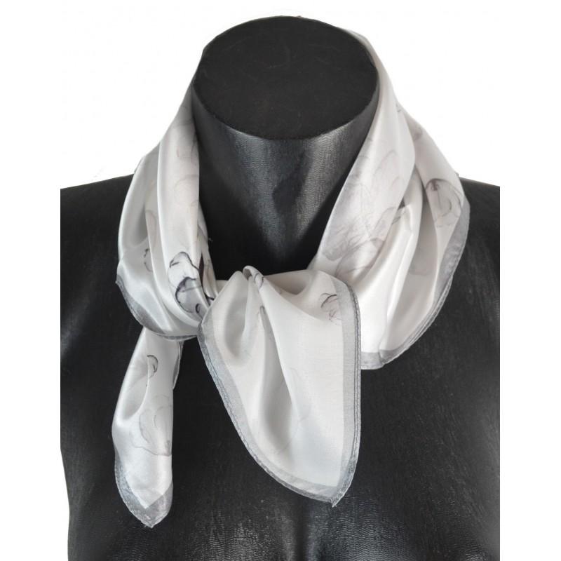 Petit carré en soie gris et blanc - qual. sup