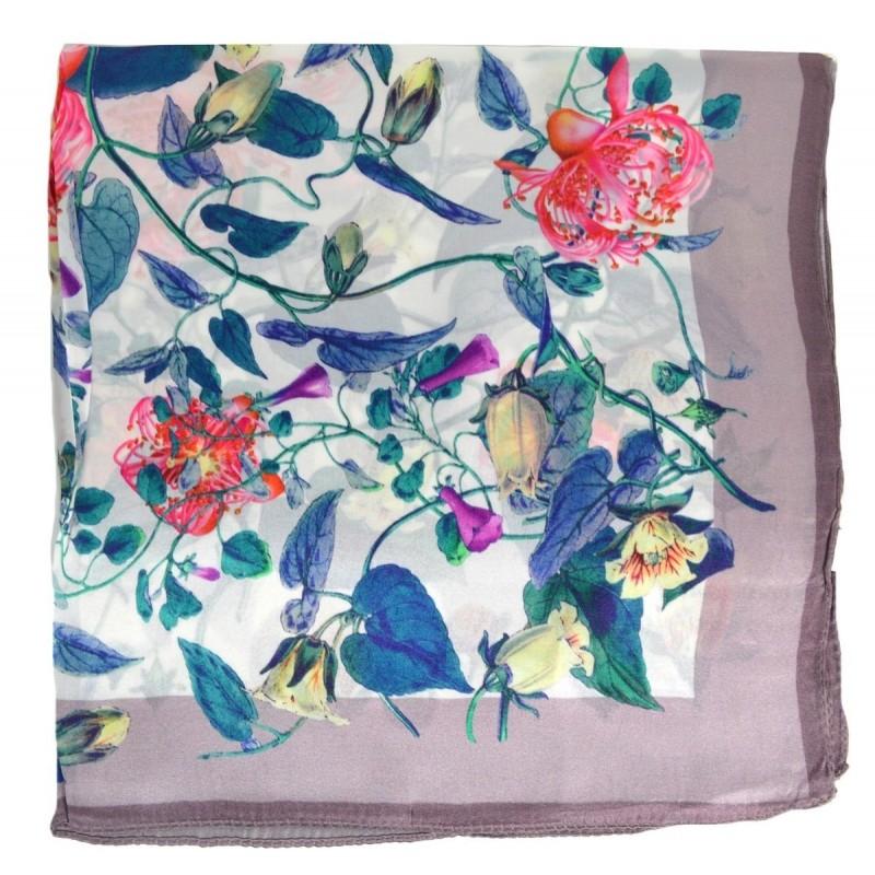 Petit carré en soie beige à fleurs - qual. sup