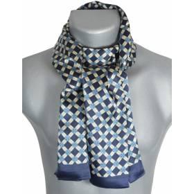 Foulard homme en soie bleu croisillons