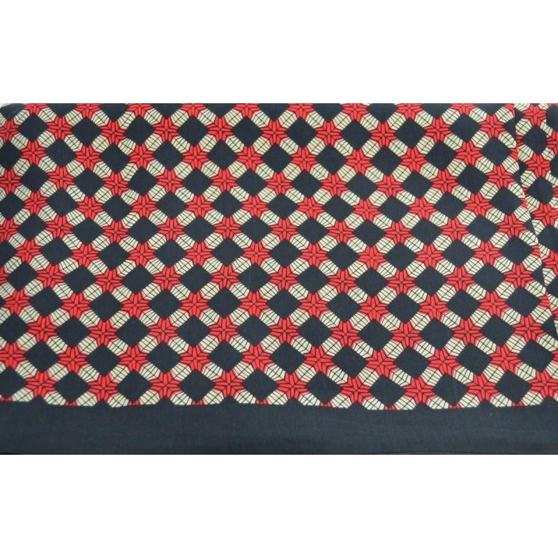 Foulard homme en soie noir et rouge croisillons