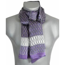 Foulard homme en soie violet et blanc