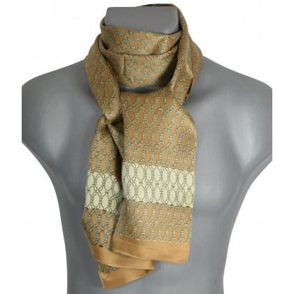 Foulard homme en soie beige et blanc
