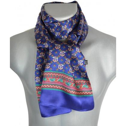 Foulard soie homme étriers bleu