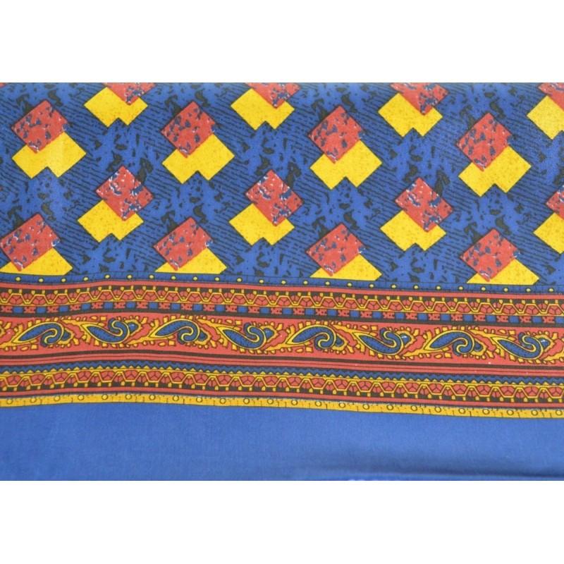 Foulard soie homme bleu motifs géométriques