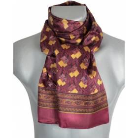 Foulard soie homme bordeaux motifs géométriques