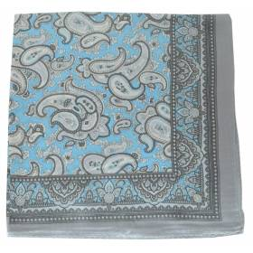 Petit carré en soie paisley bleu-gris