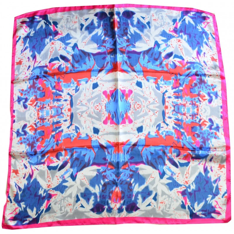 Carré soie rose et bleu