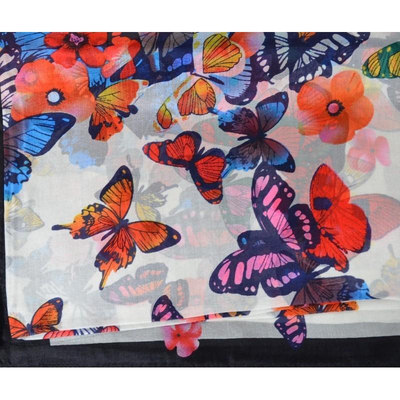 Etole en soie blanc à papillons