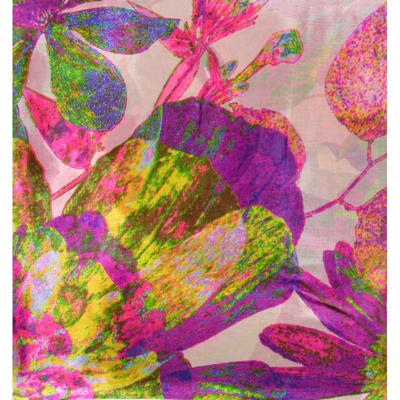 Cheche en soie rose grandes fleurs