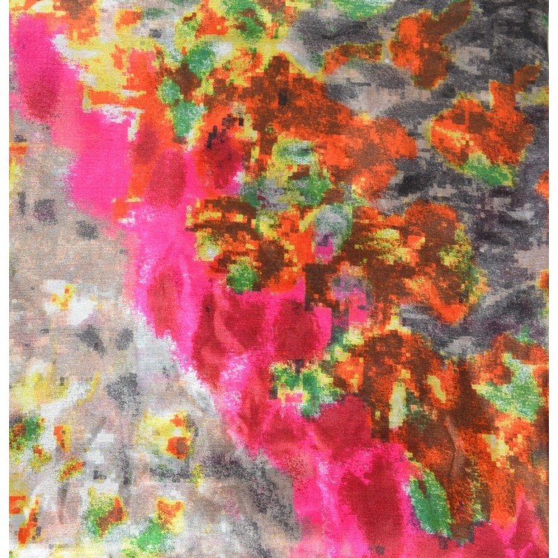 Cheche en soie tacheté rose