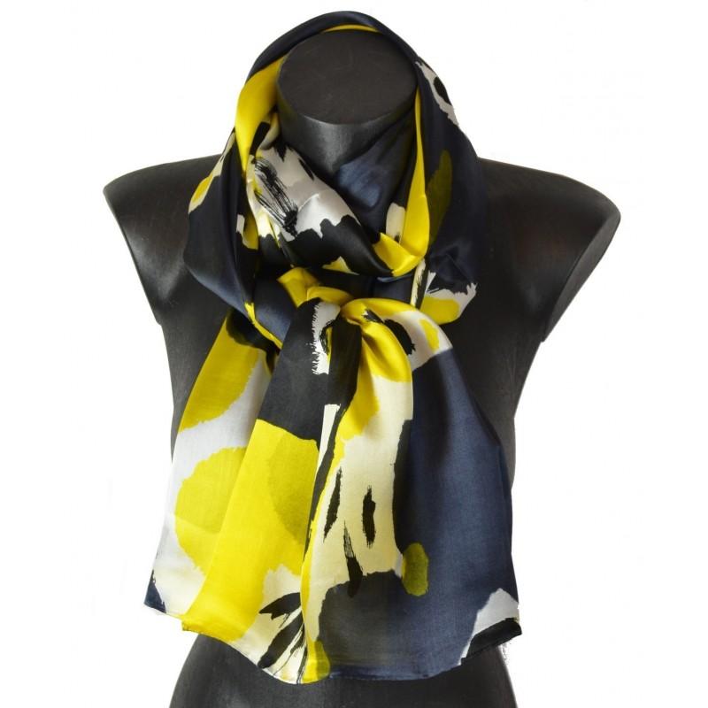 Echarpe soie Solano jaune et noire