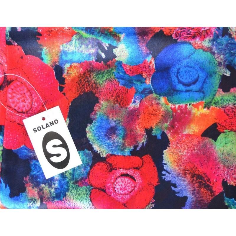 Echarpe soie Solano noire fleurs rouges-bleues