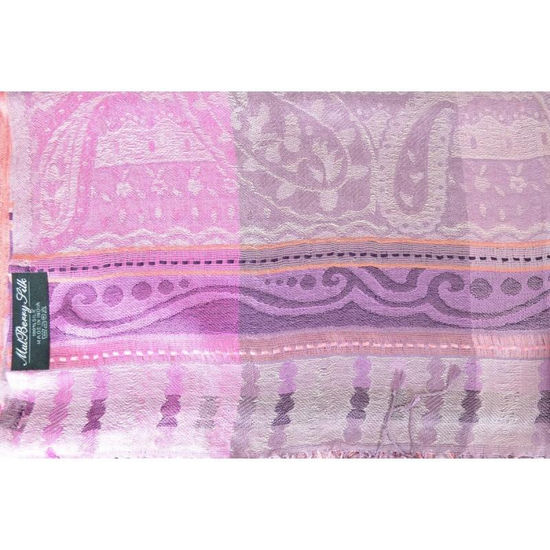 Pashmina jacquard en soie rose-violet