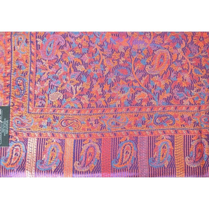 Pashmina jacquard en soie violet-rouge