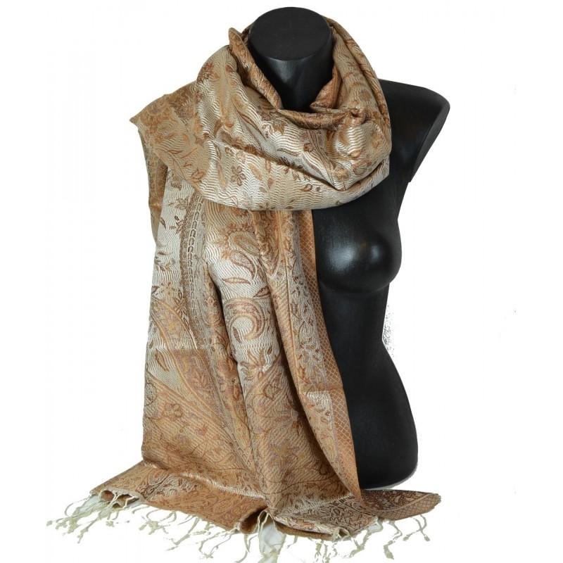Pashmina en soie antique jacquard beige et marron