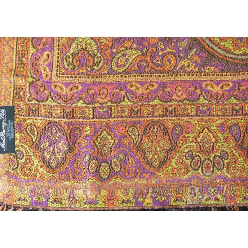 Pashmina en soie antique noir-orange-vert