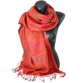 Pashmina satin jacquard en soie rose, rouge et orange