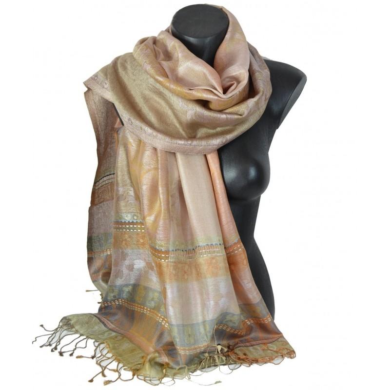 Pashmina en soie antique jacquard marron