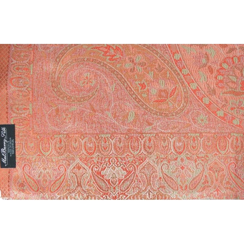 Pashmina en soie antique jacquard gris et rouge