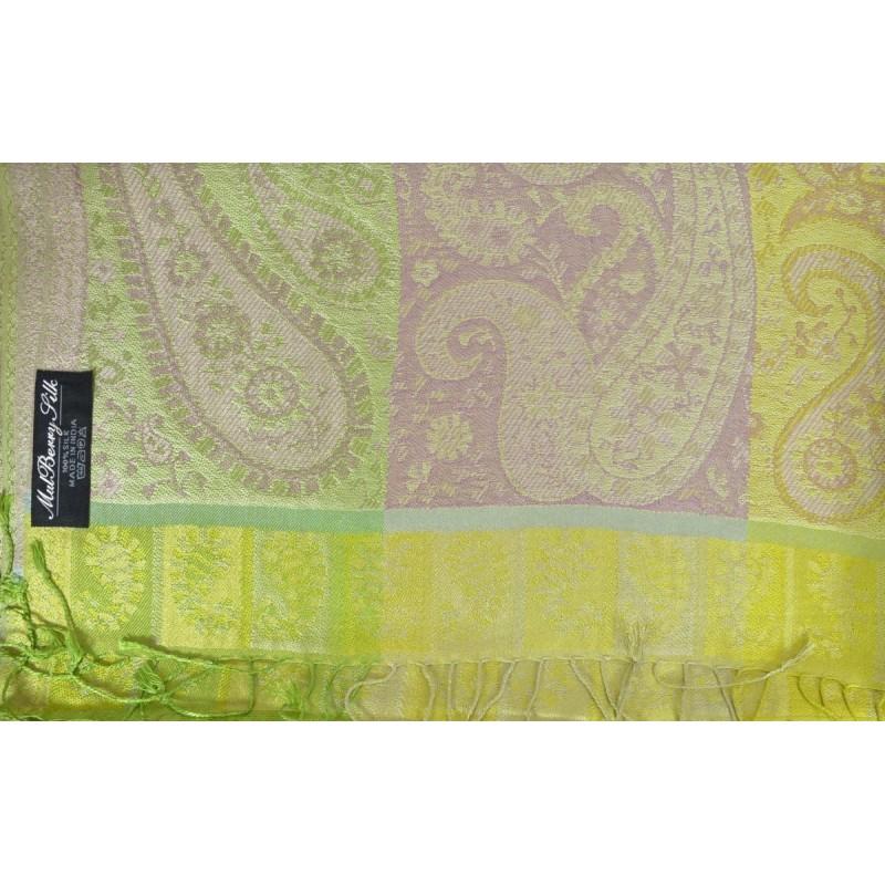 Pashmina en soie antique vert et rose