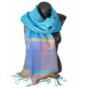 Pashmina en soie antique bleu-rose-orange