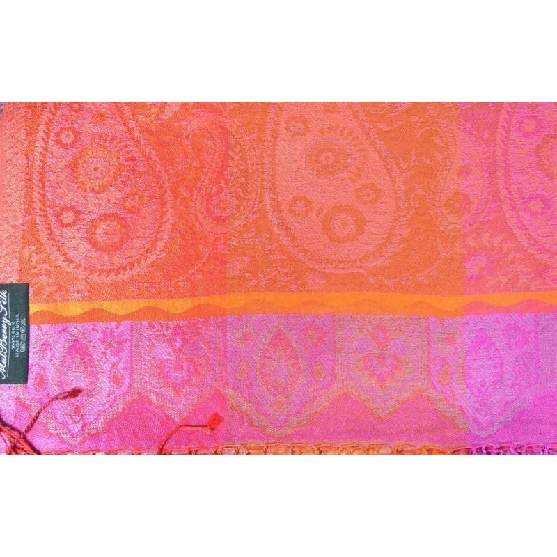 Pashmina en soie antique orange rose