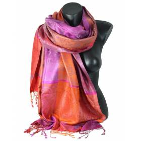 Pashmina en soie antique orange rose