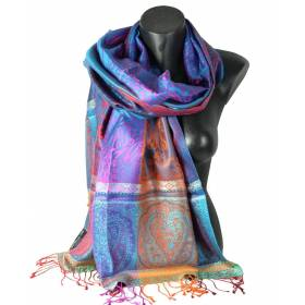 Pashmina en soie antique jacquard bleu rouge et orange