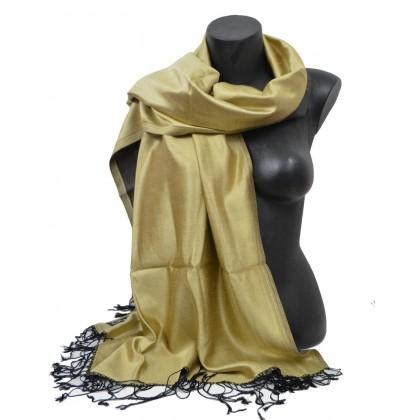 Etole en soie réversible or jaune et noir