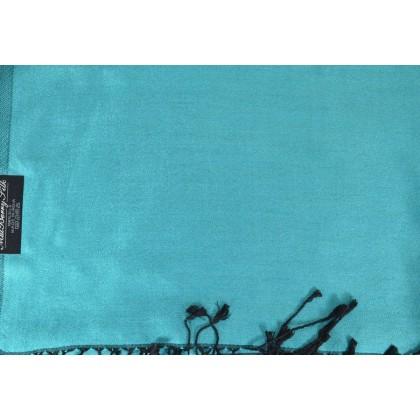 Etole en soie réversible bleu ciel - noir