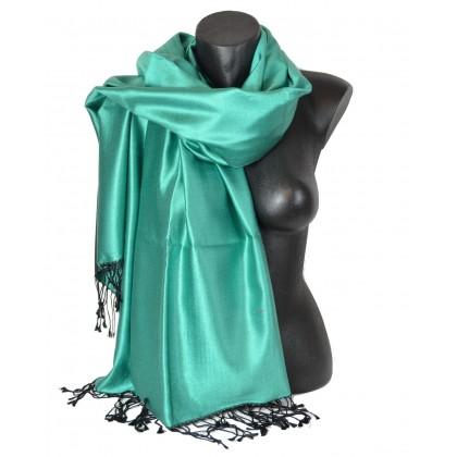Etole en soie réversible verte et noire