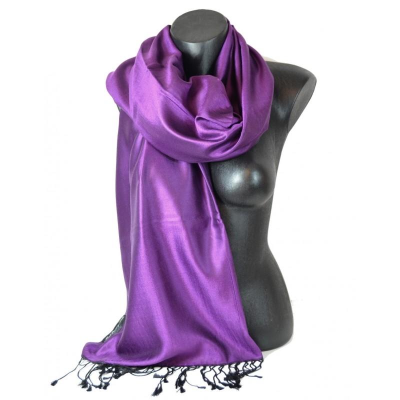 Etole en soie réversible violette et noire
