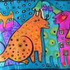 Echarpe soie naif chien chat vs turquoise